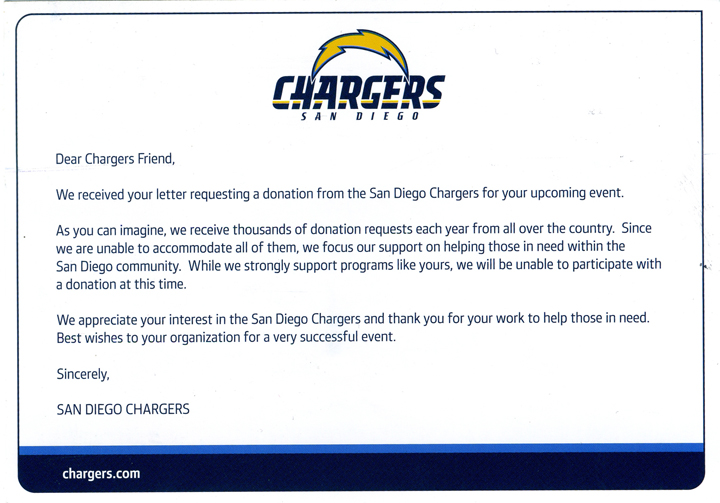 Chargers Rejection Postcard