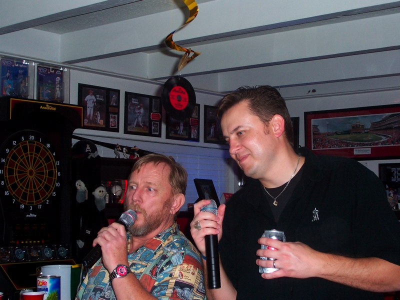 Bob and Rob singing karaoke